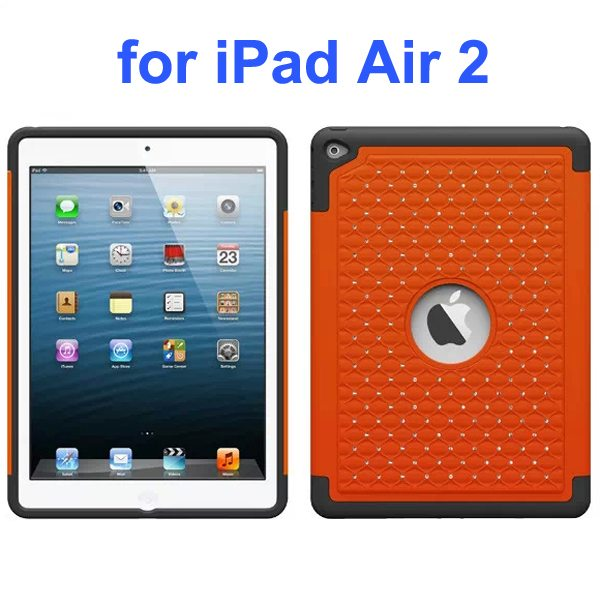 Bling Bling Style Silicone and PC Hybrid Shockproof Case for iPad Air 2 (Orange)