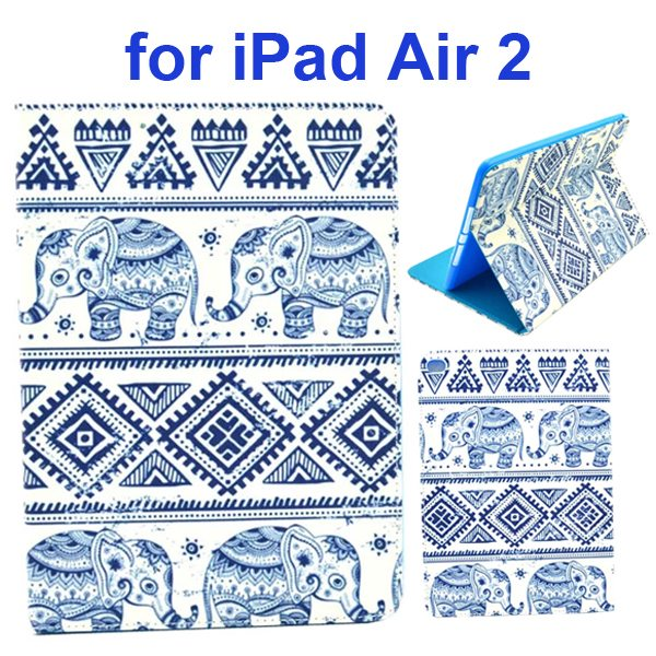 Color Printing Design PU Flip Leather Case for iPad Air 2 with Stand and Card Slots (Elephants)