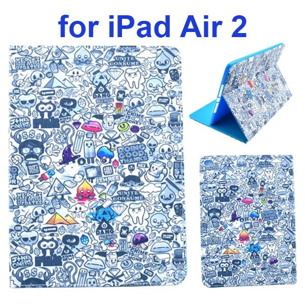 Color Printing Design PU Flip Leather Case for iPad Air 2 with Stand and Card Slots (Mixed Crazy)