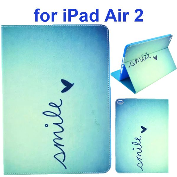 Color Printing Design PU Flip Leather Case for iPad Air 2 with Stand and Card Slots (Smile)
