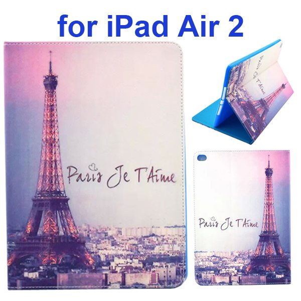 Color Printing Design PU Flip Leather Case for iPad Air 2 with Stand and Card Slots (Eiffel Tower)