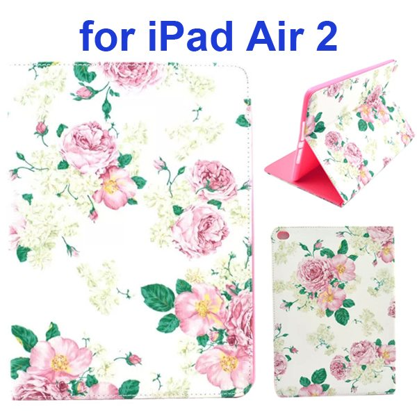 Color Printing Design PU Flip Leather Case for iPad Air 2 with Stand and Card Slots (Pure Flowers)