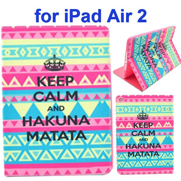 Color Printing Design PU Flip Leather Case for iPad Air 2 with Stand and Card Slots (Hakuna Matata)