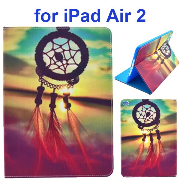 Color Printing Design PU Flip Leather Case for iPad Air 2 with Stand and Card Slots (Dream Catcher)