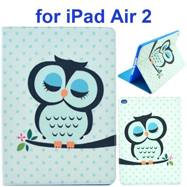 Color Printing Design PU Flip Leather Case for iPad Air 2 with Stand and Card Slots (Sleeping Owl)