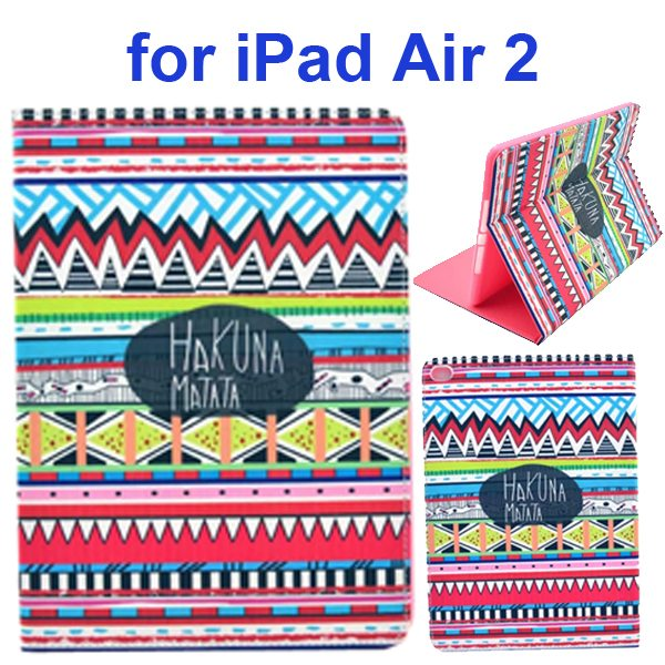 Color Printing Design PU Flip Leather Case for iPad Air 2 with Stand and Card Slots (Tribal Style)
