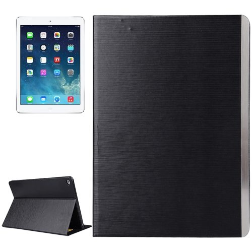 New Brushed Texture Leather Case Cover for iPad Air 2 with Card Slots and Holder (Black)
