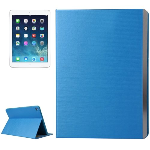 New Brushed Texture Leather Case Cover for iPad Air 2 with Card Slots and Holder (Blue)
