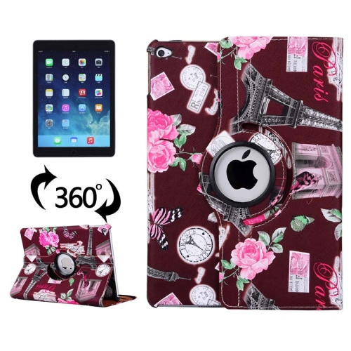 360 Degree Rotation Leather Case for iPad Air 2 / iPad 6 with 3 Gears Holder (Dark Red)