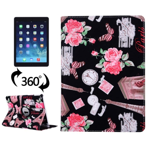 360 Degree Rotation Leather Case for iPad Air 2 / iPad 6 with 3 Gears Holder (Black)