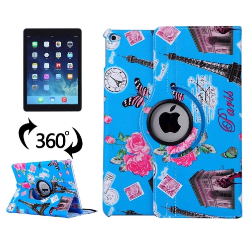 360 Degree Rotation Leather Case for iPad Air 2 / iPad 6 with 3 Gears Holder (Blue)