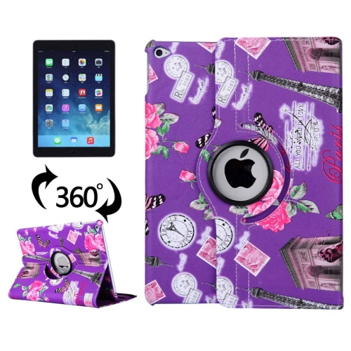 360 Degree Rotation Leather Case for iPad Air 2 / iPad 6 with 3 Gears Holder (Purple)