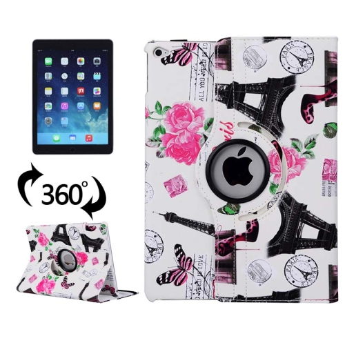360 Degree Rotation Leather Case for iPad Air 2 / iPad 6 with 3 Gears Holder (White)