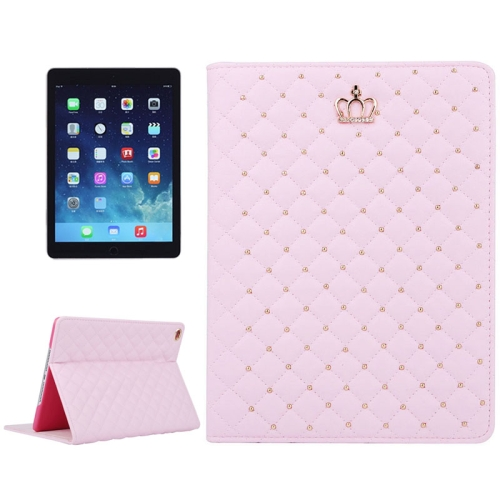Crown Pattern Plaid Texture Flip Leather Case for iPad Air 2 with Holder (Pink)