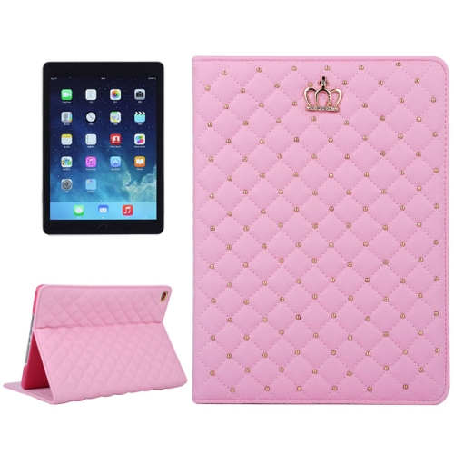 Crown Pattern Plaid Texture Flip Leather Case for iPad Air 2 with Holder (Magenta)