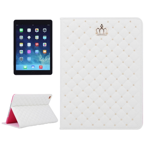 Crown Pattern Plaid Texture Flip Leather Case for iPad Air 2 with Holder (White)