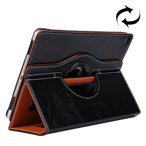 Cowhide Texture 360 Degree Rotation Leather Case for iPad Air 2 with 2 Gears Holder & Card Slots (Black)