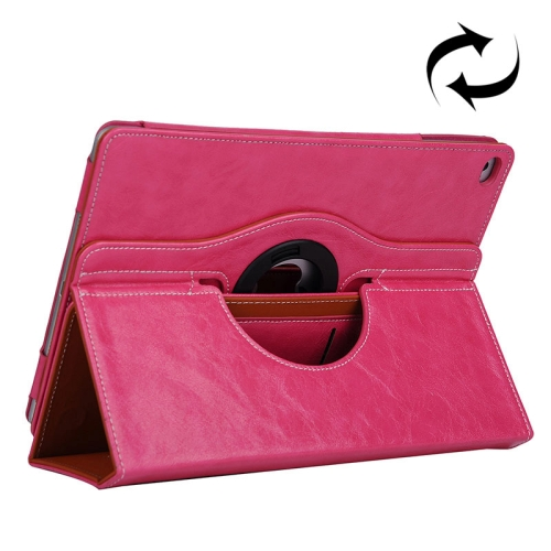 Cowhide Texture 360 Degree Rotation Leather Case for iPad Air 2 with 2 Gears Holder & Card Slots (Rose)