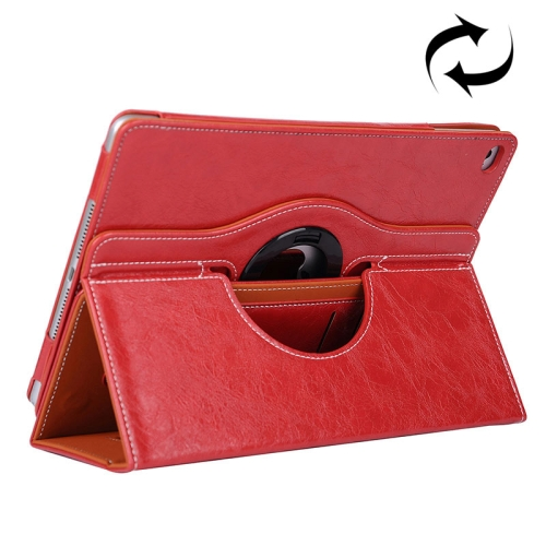 Cowhide Texture 360 Degree Rotation Leather Case for iPad Air 2 with 2 Gears Holder & Card Slots (Red)