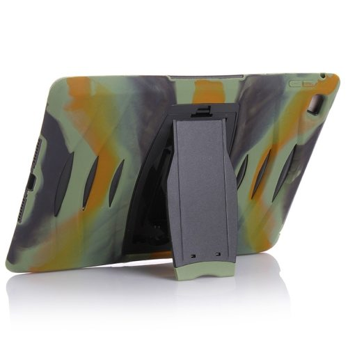 Screen Protector Shockproof Silicone +Plastic Shell Combination Case for iPad Air 2 / iPad 6 with Holder (Camouflage)