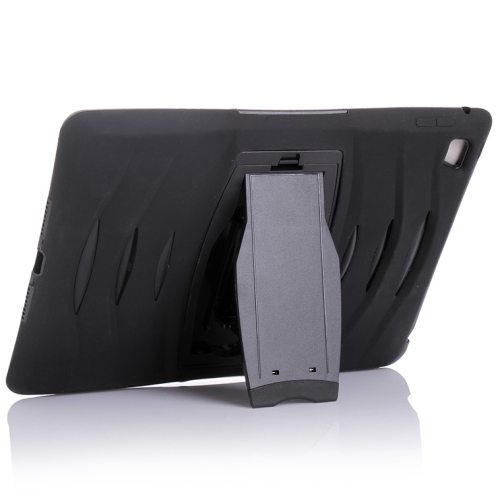 Screen Protector Shockproof Silicone +Plastic Shell Combination Case for iPad Air 2 / iPad 6 with Holder (Black)