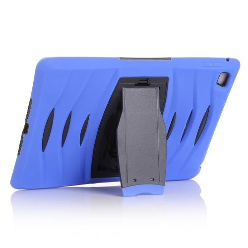 Screen Protector Shockproof Silicone +Plastic Shell Combination Case for iPad Air 2 / iPad 6 with Holder (Dark Blue)