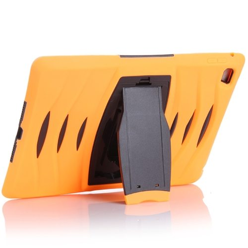 Screen Protector Shockproof Silicone +Plastic Shell Combination Case for iPad Air 2 / iPad 6 with Holder (Orange)