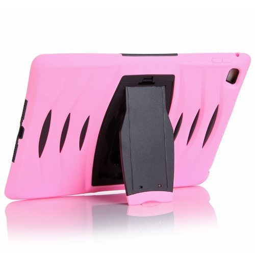Screen Protector Shockproof Silicone +Plastic Shell Combination Case for iPad Air 2 / iPad 6 with Holder (Pink)