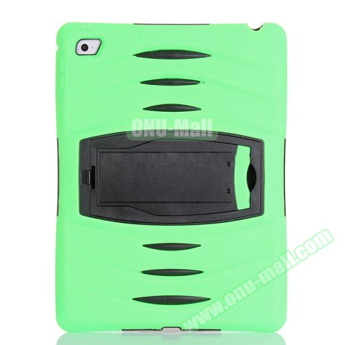Screen Protector Shockproof Silicone +Plastic Shell Combination Case for iPad Air 2 / iPad 6 with Holder (Green)