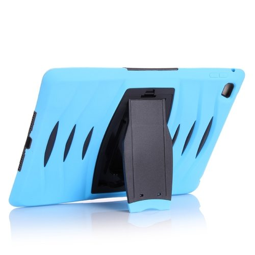 Screen Protector Shockproof Silicone +Plastic Shell Combination Case for iPad Air 2 / iPad 6 with Holder (Blue)