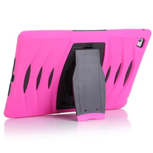 Screen Protector Shockproof Silicone +Plastic Shell Combination Case for iPad Air 2 / iPad 6 with Holder (Magenta)
