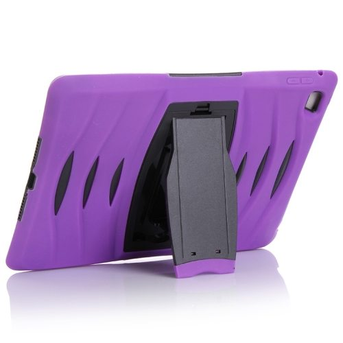 Screen Protector Shockproof Silicone +Plastic Shell Combination Case for iPad Air 2 / iPad 6 with Holder (Purple)