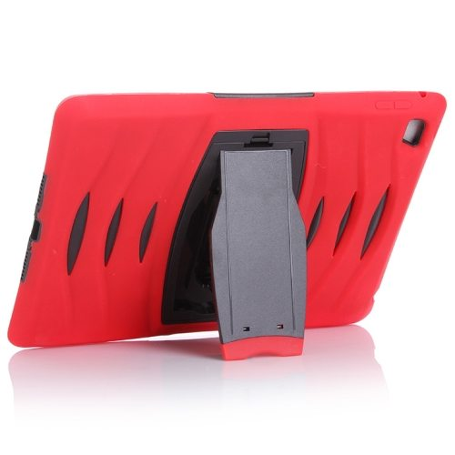 Screen Protector Shockproof Silicone +Plastic Shell Combination Case for iPad Air 2 / iPad 6 with Holder (Red)