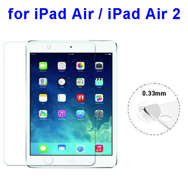 Hot New 0.33mm 2.5D Protective Tempered Glass Screen Protector for iPad Air / iPad Air 2