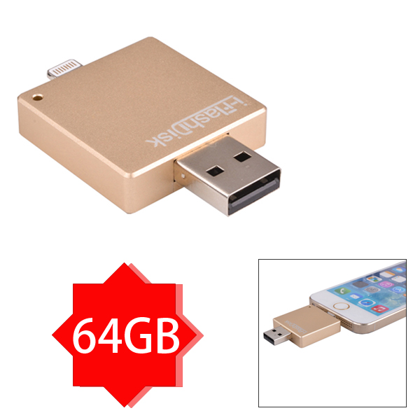 I-FlashDisk III  Multifunctional 64GB OTG USB Flash Drive for iPhone 5/5S/6/6 Plus, for iPad 4/5/Mini/Mini2 and for Tablet PC etc