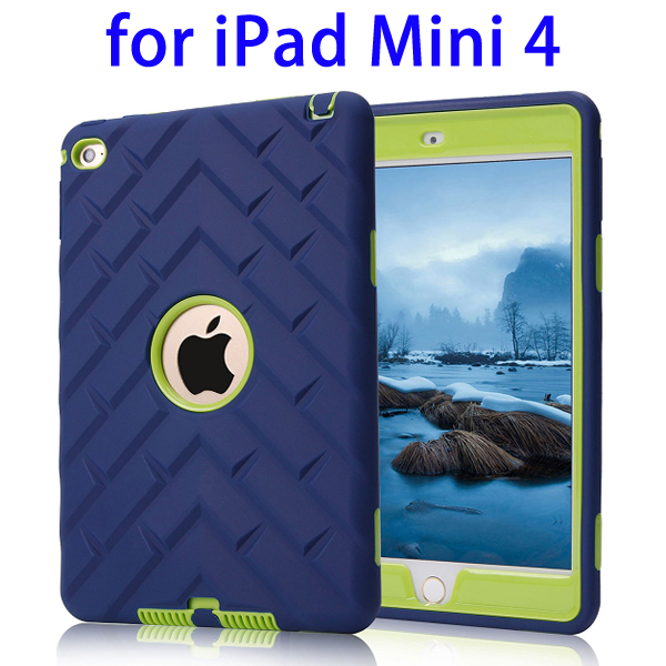3 in 1 High Impact Defender PC+Silicone Hybrid Case for iPad Mini 4 (Blue+Green)