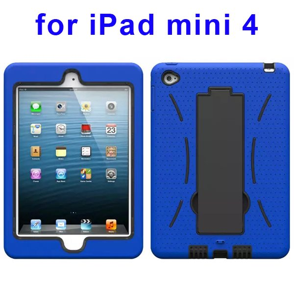 3-in-1 Screen Protector Built-in Hybrid Style PC + Silicone Protective Kickstand Case for iPad Mini 4 (Blue)