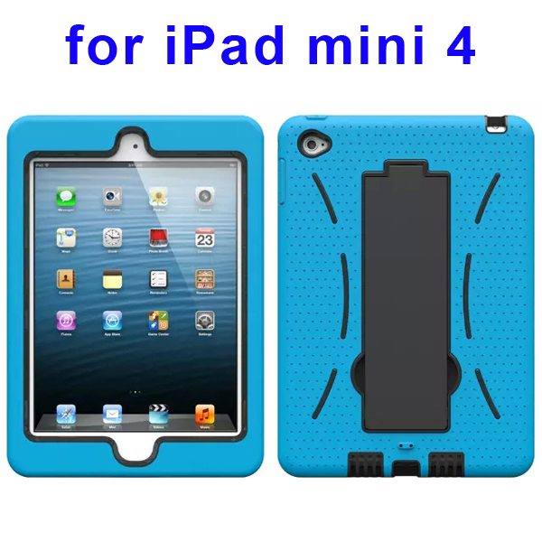 3-in-1 Screen Protector Built-in Hybrid Style PC + Silicone Protective Kickstand Case for iPad Mini 4 (Light Blue)