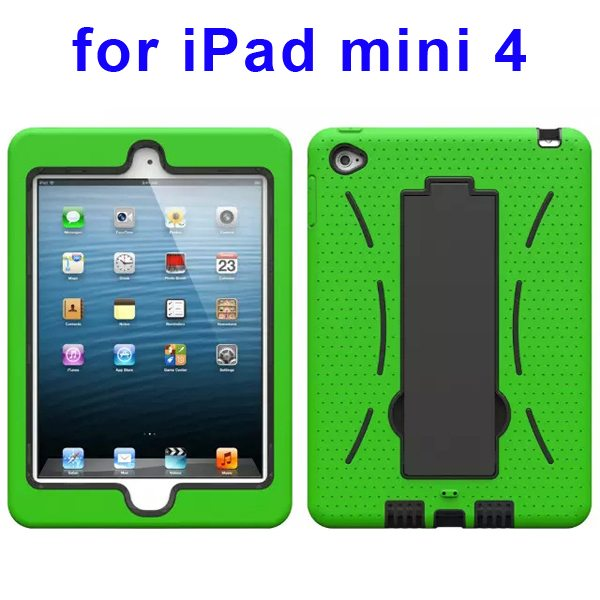 3-in-1 Screen Protector Built-in Hybrid Style PC + Silicone Protective Kickstand Case for iPad Mini 4 (Green)