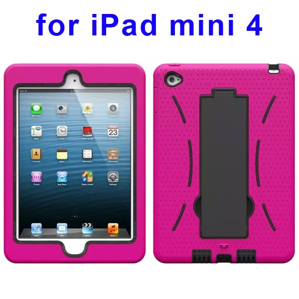 3-in-1 Screen Protector Built-in Hybrid Style PC + Silicone Protective Kickstand Case for iPad Mini 4 (Rose)