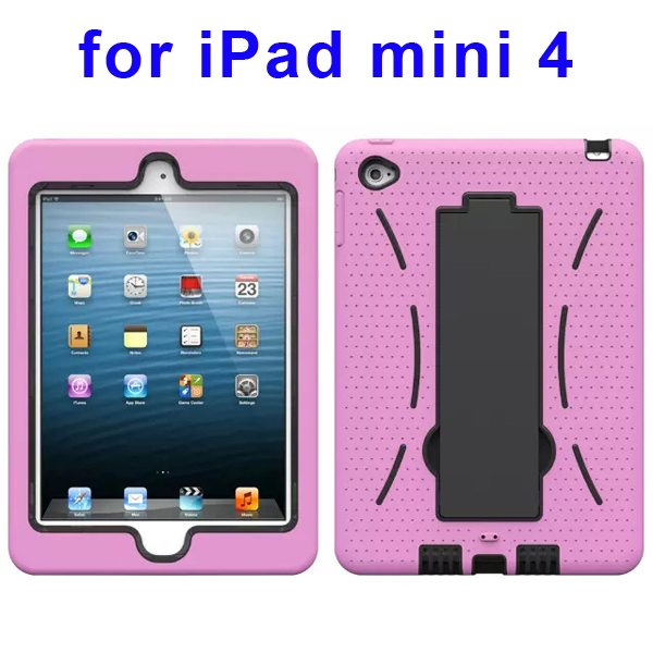 3-in-1 Screen Protector Built-in Hybrid Style PC + Silicone Protective Kickstand Case for iPad Mini 4 (Pink)