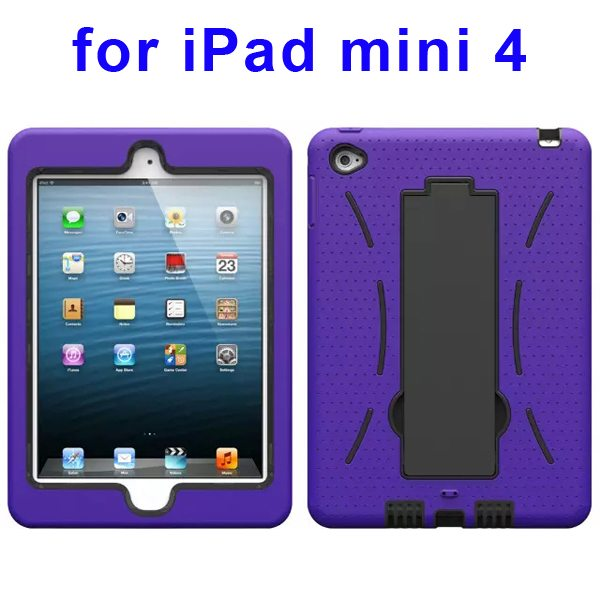 3-in-1 Screen Protector Built-in Hybrid Style PC + Silicone Protective Kickstand Case for iPad Mini 4 (Purple)