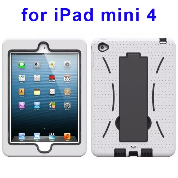 3-in-1 Screen Protector Built-in Hybrid Style PC + Silicone Protective Kickstand Case for iPad Mini 4 (White)