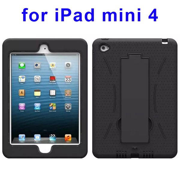 3-in-1 Screen Protector Built-in Hybrid Style PC + Silicone Protective Kickstand Case for iPad Mini 4 (Black)