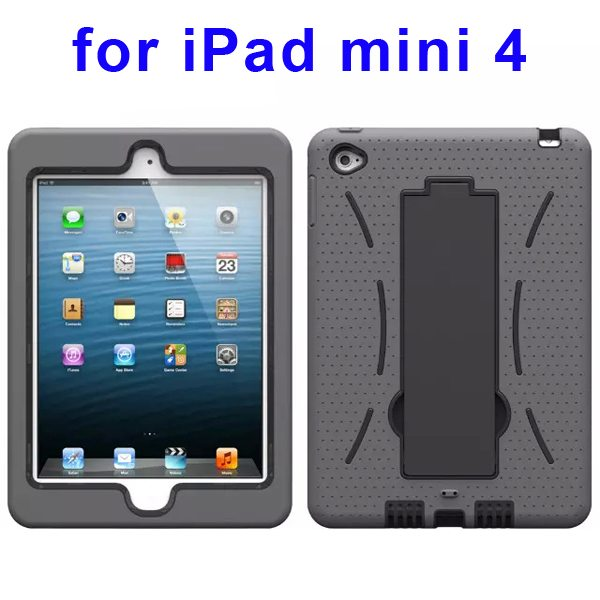 3-in-1 Screen Protector Built-in Hybrid Style PC + Silicone Protective Kickstand Case for iPad Mini 4 (Grey)