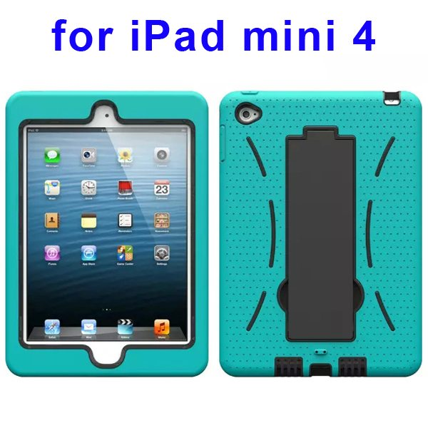 3-in-1 Screen Protector Built-in Hybrid Style PC + Silicone Protective Kickstand Case for iPad Mini 4 (Cyan Blue)