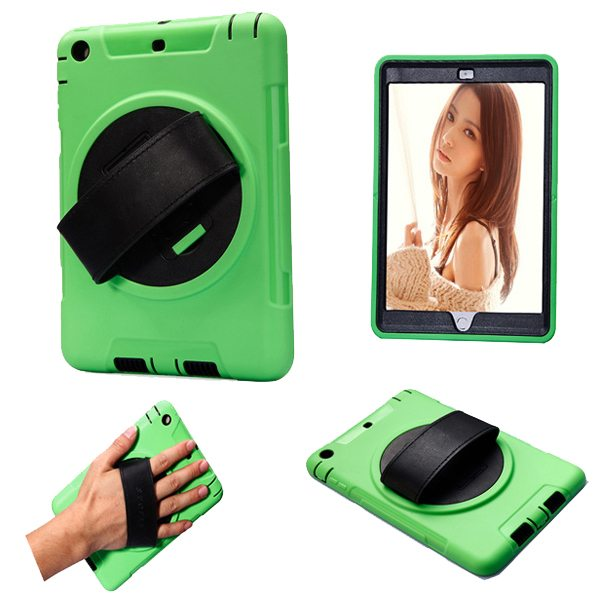 360 Degree Rotatable Plastic Protective Case for iPad Mini 3/ 2/ 1 with Stand and Handle (Green)
