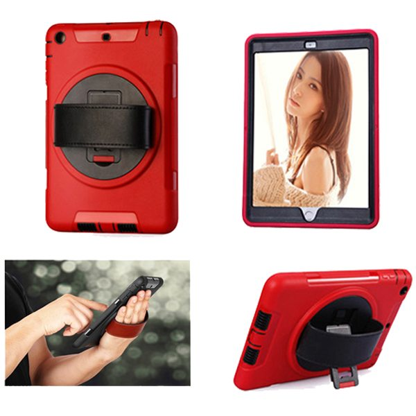 360 Degree Rotatable Plastic Protective Case for iPad Mini 3/ 2/ 1 with Stand and Handle (Red)