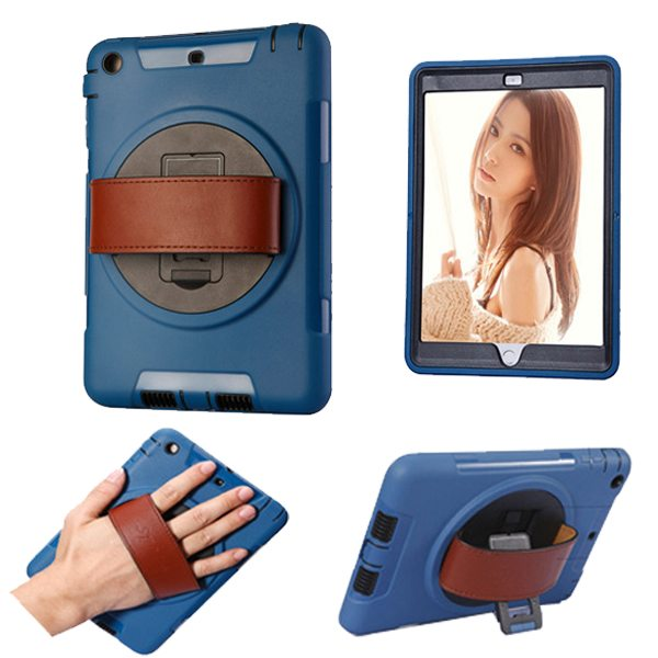 360 Degree Rotatable Plastic Protective Case for iPad Mini 3/ 2/ 1 with Stand and Handle (Dark Blue)