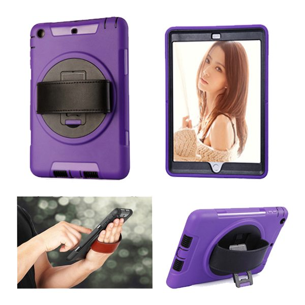 360 Degree Rotatable Plastic Protective Case for iPad Mini 3/ 2/ 1 with Stand and Handle (Purple)